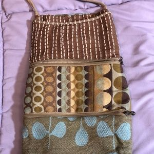 Tall woven over the shoulder purse